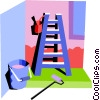Vector Clipart image  of a paint ladder with bucket and