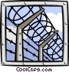 Vector Clipart graphic  of a barb wire fence