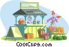 Vector Clip Art picture  of a market scene