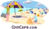 day at the beach Vector Clip Art image