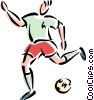 Vector Clipart image  of a Soccer player kicking ball