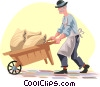 Vector Clipart illustration  of a pushing a wheelbarrow
