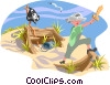 Vector Clip Art picture  of a Child playing on toy pirate