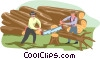 Vector Clip Art picture  of a sawing wood