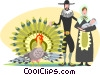 Pioneers with wild turkey Vector Clipart illustration