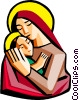 Vector Clipart picture  of a Mother Mary with baby Jesus