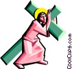 Vector Clipart illustration  of a Jesus carrying the cross