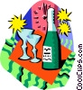 Vector Clip Art image  of a Bottle of wine