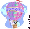 Newlywed couple in hot air balloon Vector Clip Art picture