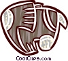 Vector Clipart illustration  of a symbolic elephant