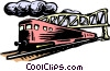 Train passing under bridge Vector Clip Art graphic