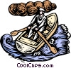 Boat/ woodcut style Vector Clipart illustration
