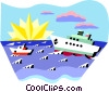 Vector Clip Art graphic  of a ships on the ocean
