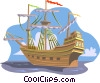 Vector Clip Art image  of a Old sailing ship