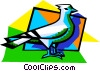 Vector Clipart graphic  of a messenger bird