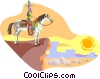 Vector Clip Art image  of a cowboy on horse