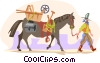 cowboy walking horse Vector Clipart graphic