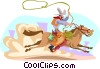 Vector Clip Art graphic  of a Rodeo rider