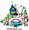 dinner setting Vector Clipart illustration