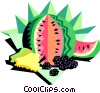Vector Clip Art image  of a watermelon and fruit