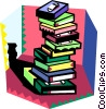 Vector Clip Art graphic  of a stack of books