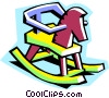 Vector Clip Art graphic  of a rocking horse