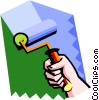 Vector Clipart graphic  of a rolling paint