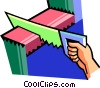 Vector Clip Art graphic  of a carpentry tools/sawing wood