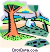 Vector Clipart illustration  of a country landscape