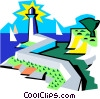 lighthouse and seashore scene Vector Clipart illustration