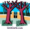 Vector Clip Art graphic  of a majestic trees with gate