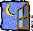 Vector Clipart illustration  of a night sky with window