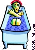 Vector Clipart image  of a person in the tub