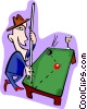 Vector Clipart graphic  of a pool player