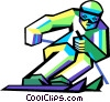 Vector Clip Art image  of a downhill skier
