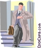 Vector Clip Art image  of a on the way to work