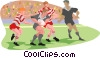 rugby players Vector Clipart graphic