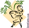 Vector Clipart graphic  of a woman carrying plant