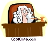 judge behind bench Vector Clip Art graphic