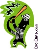 Vector Clipart illustration  of a baseball player