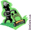 Vector Clip Art image  of a yard worker