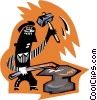 Vector Clip Art graphic  of a blacksmith