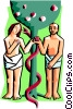 Vector Clip Art graphic  of an Adam and Eve