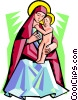 Vector Clipart graphic  of a Virgin Mother with Child