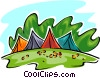Vector Clip Art image  of a tents in park