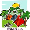 Vector Clip Art graphic  of a tents in park with campfire