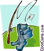 Vector Clip Art graphic  of a boots and fishing rod
