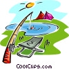 fishing rod and seat, tents Vector Clipart image
