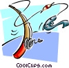 Vector Clipart picture  of a fishing rod landing fish