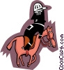 Vector Clip Art image  of a jockey on horse